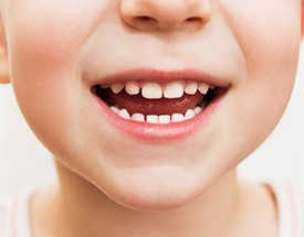 Close up of child's healthy smile